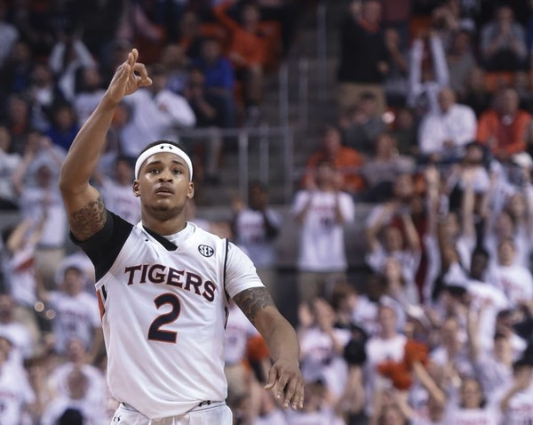 Auburn guard Bryce Brown (2) celebrates a 3-point shot against Kentucky Wednesday, Feb. 14, 2018, during the second half of an NCAA basketball game at Auburn Arena in Auburn, Ala.