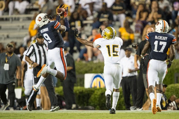 Jamien Sherwoodcame up with one of Auburn's four takeaways against Alabama Sate. (Michael Chang/Getty Images)