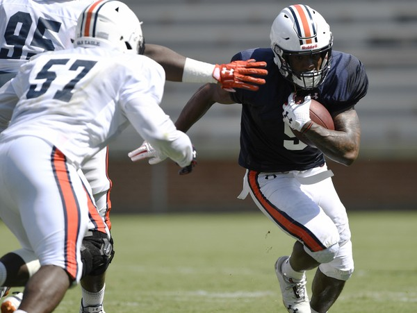 Kam Martin runs during Auburn's first fall scrimmage. Martin is in line to be the first running back on the field against Washington in less than two weeks. (Todd Van Emst/Auburn Athletics)