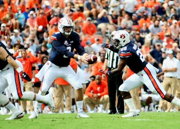 Auburn quarterback hands the ball off to Boobee Whitlow in the first half against Southern Miss. The Tigers are on pace to have the worst rushing offense of the Gus Malzahn era. (Madison Ogletree/AL.com)