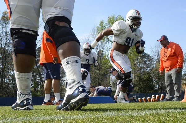 Auburn's defensive line should be the strength of the team this season, and linebacker Deshaun Davis believes the unit could be the best in the nation. (Julie Bennett/jbennett@al.com)