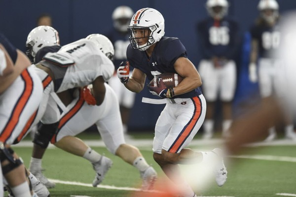 Auburn running back Devan Barrett (5) has been splitting time at receiver the last couple weeks of spring practice and will play both positions on A-Day. (Julie Bennett/jbennett@al.com)