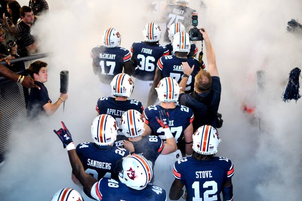 Auburn takes the field before its 34-3 win against Arkansas. The Tigers are heavy favorites again this week, when they will host Southern Miss at Jordan-Hare Stadium. (Madison Ogletree/AL.com)
