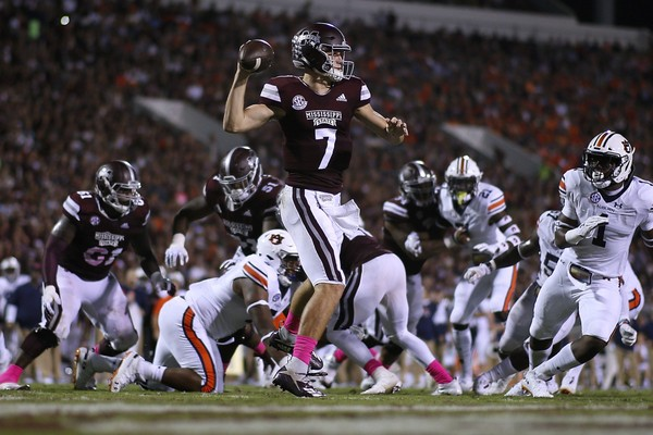 Mississippi State's Nick Fitzgerald looks to pass against Auburn. Fitzgerald, who became the SEC's all-time leading rusher among quarterbacks, rushed for 195 yards and gave Auburn's defense fits on Saturday. (Jonathan Bachman/Getty Images)