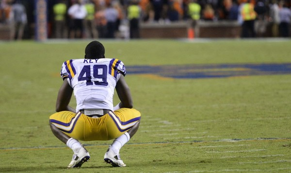 LSU defensive end Arden Key (49) watches the review of the final touchdown against Auburn during the second half Saturday Sept. 23, 2016, at Jordan Hare Stadium in Auburn, Ala. The touchdown occurred after time expired. (Julie Bennett/jbennett@al.com) ORG XMIT: ALBIN