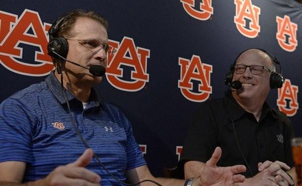 """Auburn coach Gus Malzahn during """"Tiger Talk"""" with Rod Bramblett. Auburn will host Southern Miss on Saturday at 3 p.m. (Todd Van Emst/Auburn Athletics)"""