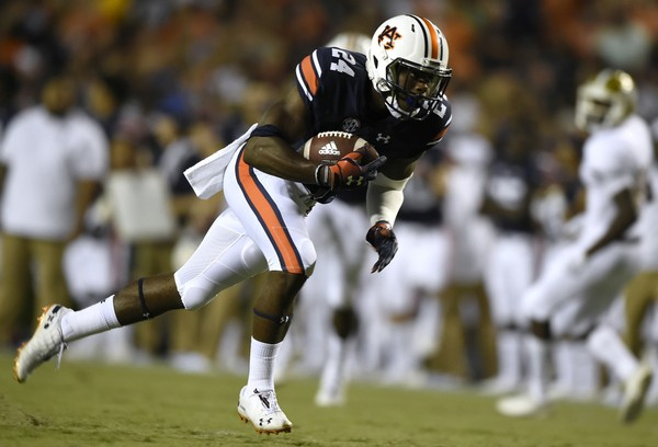 Auburn's Daniel Thomas returns an interception for a touchdown against Alabama State. (Todd Van Emst/Auburn Athletics)