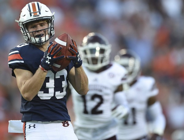 Auburn wide receiver Will Hastings (33) hauls in a pass for a touchdown against Mississippi Stat during the first half Saturday, Sept. 30, 2017, at Jordan Hare Stadium in Auburn, Ala. (Julie Bennett/jbennett@al.com)