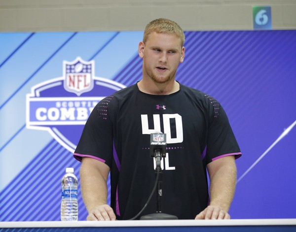 Auburn offensive lineman Braden Smith speaks during a press conference at the NFL football scouting combine, Thursday, March 1, 2018, in Indianapolis.
