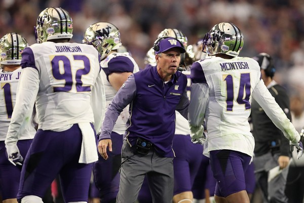 Washington coach Chris Petersen reacts during the second half of the Playstation Fiesta Bowl against Penn State.