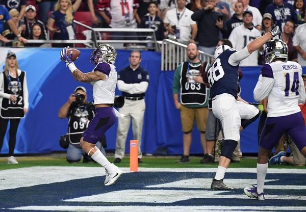 6f98d3d9 Washington's Byron Murphy intercepts a pass against Penn State Lions during  the Fiesta ...