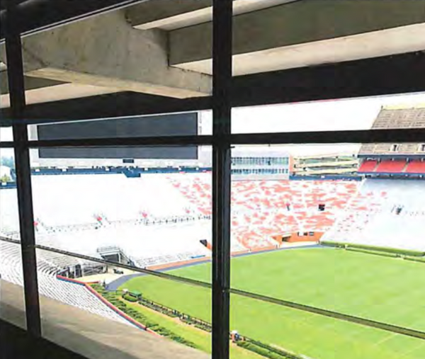 Operable windows in a previously renovated suite at Jordan-Hare Stadium. Auburn's board of trustees approved a final project to install operable windows and fans in all suites on the East side of the stadium after the 2018 season.