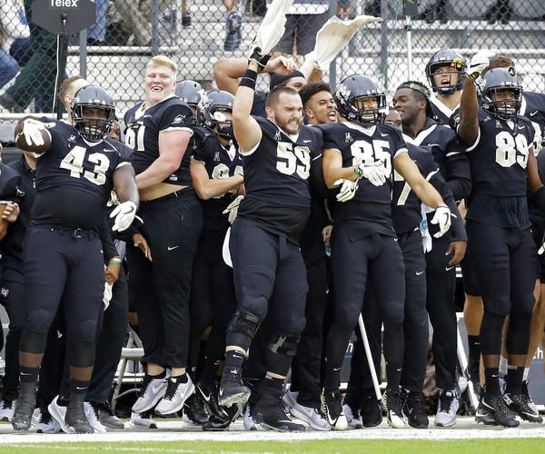 Central Florida players jump up and down before the opening kickoff against South Florida during the first half of an NCAA college football game, Friday, Nov. 24, 2017, in Orlando, Fla. (AP Photo/John Raoux)