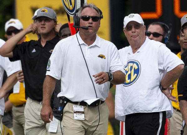 Southern Miss head coach Jay Hopson paces the sidelines against Auburn during the first half Saturday in Auburn.