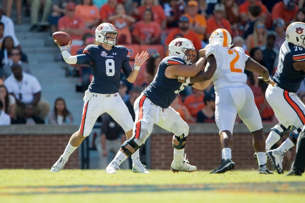 Jarrett Stidham committed three turnovers in Auburn's 30-24 loss to Tennessee. (Michael Chang/Getty Images)