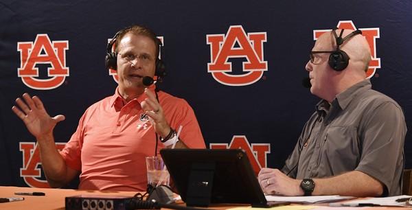 "Auburn coach Gus Malzahn talks with Rod Bramblett during ""Tiger Talk."" This week's episode previews the Tennessee game. (Todd Van Emst/Auburn Athletics)"