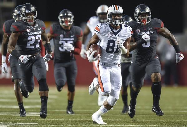 Auburn wide receiver Darius Slayton scores a touchdown against Arkansas last season. The Razorbacks travel to Jordan-Hare Stadium on Sept. 22. (Julie Bennett/jbennett@al.com)