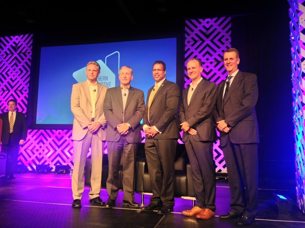 From left, Chris Susock, VP Hyundai Manufacturing of Alabama; Stuart Countess, CAO, Kia Motors Manufacturing Georgia; David Fernandes, president, Toyota Motor Manufacturing Alabama; Jason Hoff, CEO, Mercedes-Benz U.S. International, and Jeff Tomko, president, Honda Manufacturing of Alabama, stand at the 2017 Southern Automotive Conference in Birmingham Thursday, Oct. 5, 2017.
