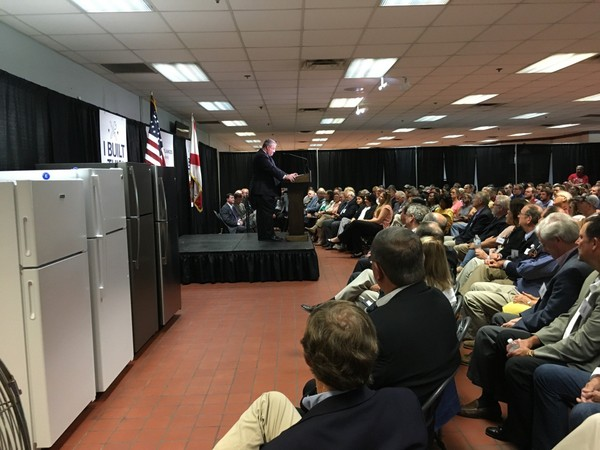 Alabama Secretary of Commerce Greg Canfield announces a $115 million expansion of the GE Appliances refrigerator plant in Decatur, Ala. on June 29, 2018. The expansion will bring 255 new jobs. (Lee Roop/lroop@al.com)