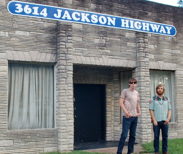 The Black Keys drummer Patrick Carney, left, and singer/guitarist Dan Auerbach, outside Sheffield's Muscle Shoals Sound in 2009. (Courtesy photo)