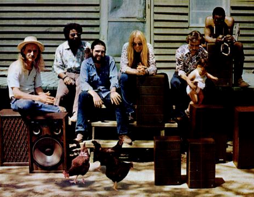 """The Allman Brothers Band, circa """"Brothers and Sisters"""" album. Alabama native Chuck Leavell is third from left. (Wikimedia Commons)"""
