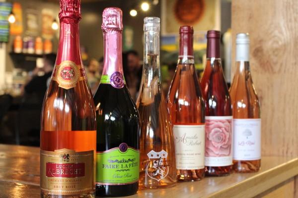 The selection of rose for Hop City's rose wine dinner (Credit: Shauna Stuart for al.com)