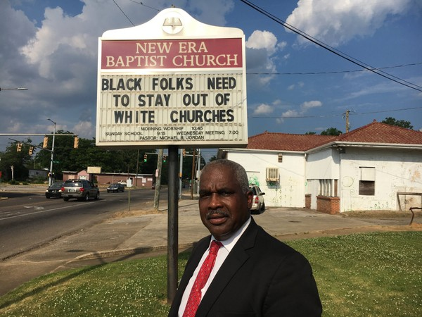 The Rev. Michael Jordan, pastor of New Era Baptist Church in Birmingham, said he put up this sign on Saturday, May 12, 2018.
