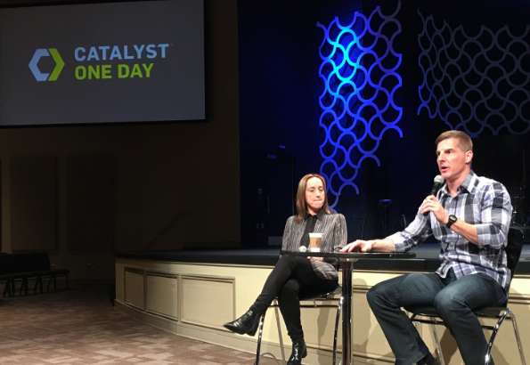 Keynote speakers for the Catalyst One Day conference at the Church of the Highlands in Birmingham on May 18 were Australian Evangelist Christine Caine of Hillsong Church, left, and LifeChurch.tv founder Craig Groeschel.