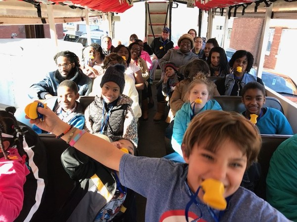 Children from Wilmer Hall recently took a Mardi Gras-themed tour on a duck boat, courtesy of Fresenius Kidney Care. (Courtesy Gulf Coast Ducks)