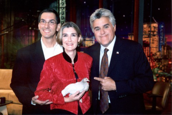 Keith and Donna Barton of Bessemer show the talents of their chicken Matilda on the Tonight Show with Jay Leno in 2004. (Wikimedia Commons)