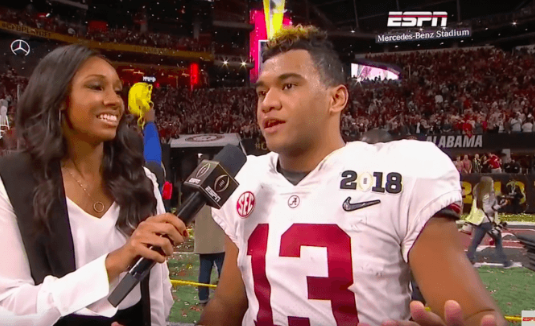 Alabama quarterback Tua Tagovailoa thanked his 'Lord and Savior' during a post-game interview with ESPN.
