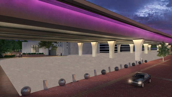 A rendering of the proposed CityWalk BHAM, a 10-block public space under the new I-59/20 bridges in downtown Birmingham.
