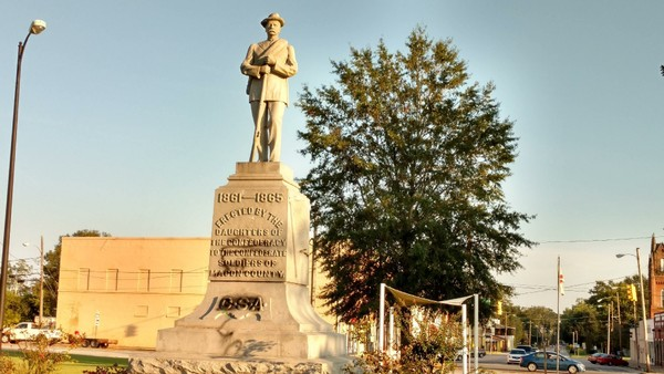 Tuskegee Mayor Lawrence Haygood Jr. said someone vandalized the Confederate Statue on Wednesday, Oct. 11, 2017.