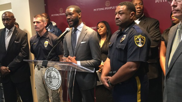 Birmingham Mayor Randall Woodfin announces details of a community effort to encourage conflict resolution in the city's youth during a media briefing at Birmingham City Hall on Wednesday, Sept. 5, 2018.