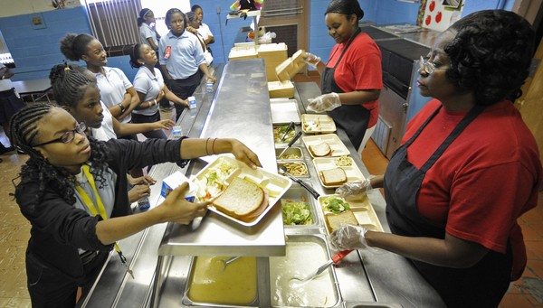 A lunch line at a Birmingham City School is pictured in this Birmingham News file photo.