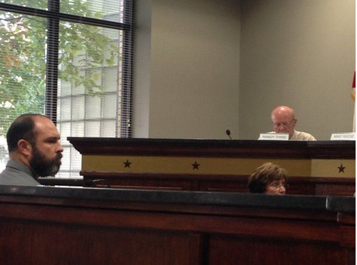 Fired Anniston police officer Josh Doggrell testifies during a hearing Thursday, Sept. 17, 2015.