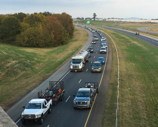 Traffic stacks up during morning and evening commutes on two-lane portions of I-565 in Huntsville. (AL.com file photo/Lee Roop)