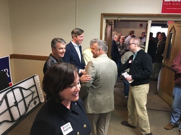 Alabama Republican attorney general candidates greet voters after an appearance at the Madison County Republican Men's Club in April. The three shown here, Alice Martin, incumbent Attorney General Steve Marshall (center) and Birmingham attorney Chess Bedsole, made frequent appearances together at forums and debates. The fourth candidate in the race is former Attorney General Troy King. (Lee Roop/lroop@al.com)