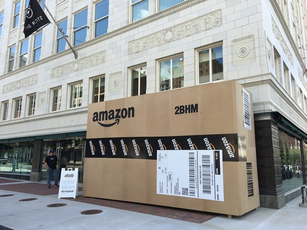 An Amazon box at the Pizitz in Birmingham where residents can take pictures to send a message to Amazon to bring its second headquarters to Birmingham. Huntsville will also submit a proposal. (AL.com file photo)