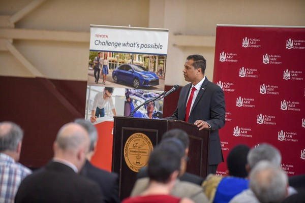 David Fernandes, president of Toyota Motor Manufacturing Alabama, announced a $300,000 grant to Alabama A&M on April 13, 2018. (Submitted photo)
