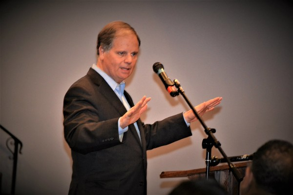 Democratic Senate candidate Doug Jones speaks in Huntsville two days before the special election that will send him or Republican Roy Moore to Washington. (Lee Roop/lroop@al.com)