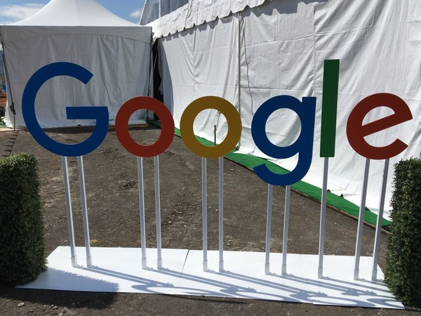 The Google sign that greeted those attending the groundbreaking Monday April 9, 2018, for its new data center in Bridgeport. (Paul Gattis/pgattis@al.com)