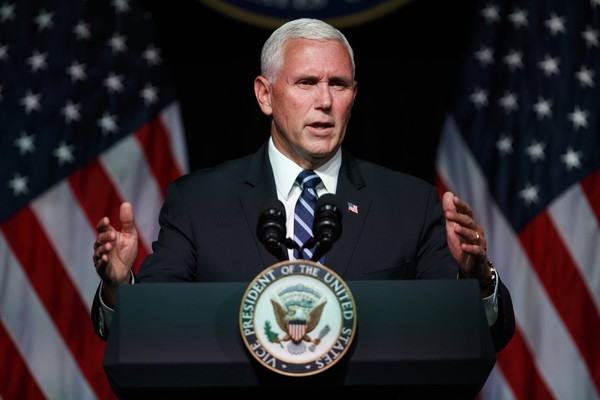 Vice President Mike Pence speaks during an event on the creation of a U. S. Space Force, Thursday, Aug. 9, 2018, at the Pentagon. Pence says the time has come to establish a new United States Space Force to ensure America's dominance in space amid heightened completion and threats from China and Russia. (AP Photo/Evan Vucci)