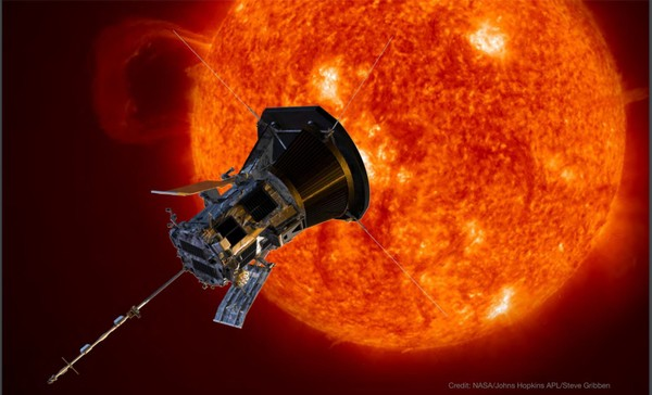 This NASA illustration shows the Parker Solar Probe approaching the sun. (NASA)