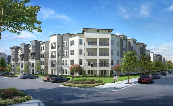 """This architect's rendering shows the exterior design of """"The Station at Town Madison,"""" a new apartment complex for the Town Madison mixed-use development on Interstate 565 in Madison. Developers broke ground of the 274-unit complex today. (Courtesy Town Madison and Tynes Development Co.)"""