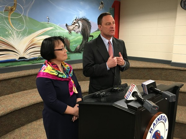 Madison City Schools board president Ranae Bartlett, left, and Superintendent Robby Parker discuss on Friday, April 6, 2018, their plan to raise money through private donations to hire school security officials. (Paul Gattis/pgattis@al.com)