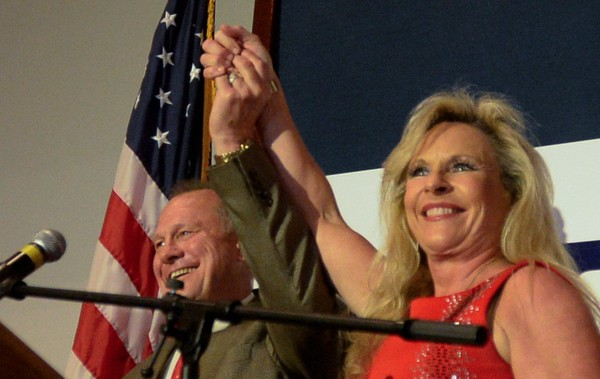 U.S. Senate candidate Roy Moore and his wife Kayla greet the crowd after winning the GOP runoff election Tuesday, Sept. 26, 2017, in Montgomery, Ala. (Julie Bennett/jbennett@al.com)
