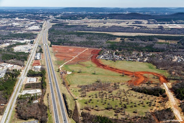 An aerial photo taken in October 2017 of dirt work underway at Town Madison on the south side of I-565. The development could soon be the home of a minor league baseball team. (AL.com file photo)