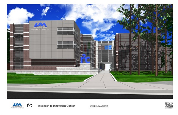 Architect's rendering of the D.S. Davidson Invention to Innovation Center at the University of Alabama in Huntsville. It's scheduled to open in early 2019.