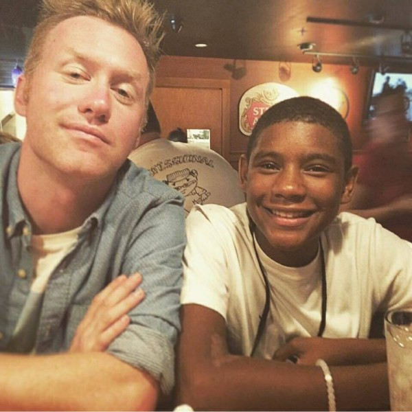 Steven Franklin (right) is shown with Zach Finey (left). Franklin has been hospitalized since a Monday encounter with a school security guard.